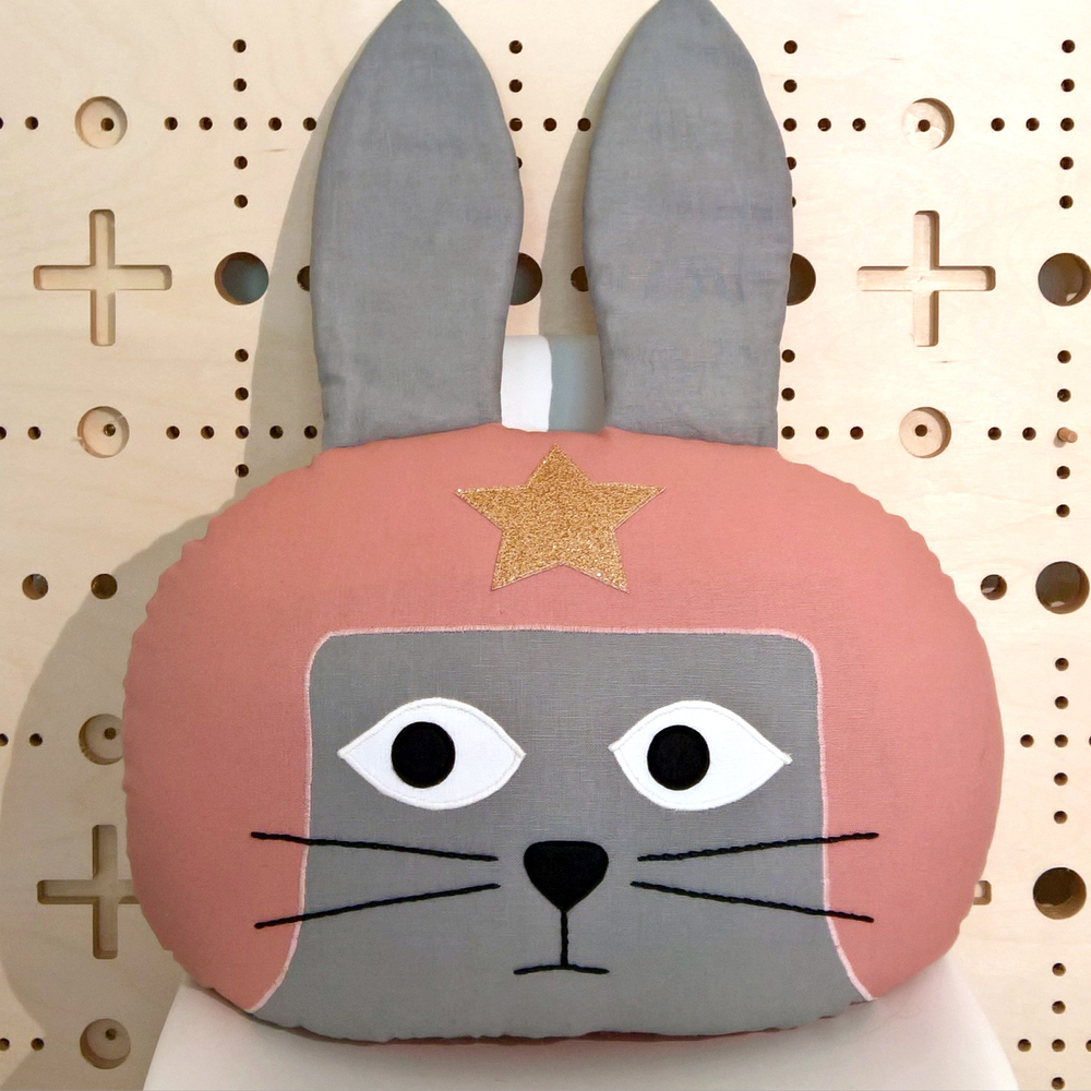 Dusky Pink Daredevil Rabbit Cushion