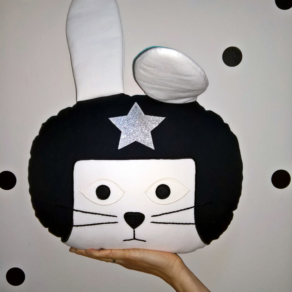 Monochrome Daredevil Rabbit Cushion