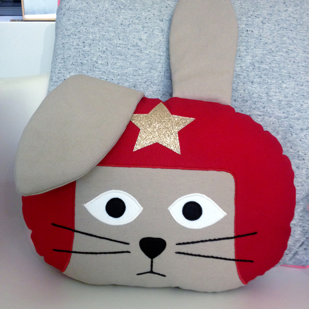 Red Daredevil Rabbit Cushion