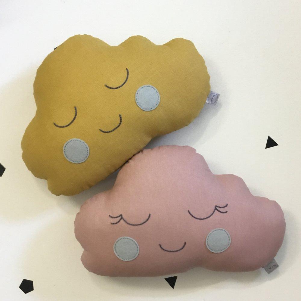 Pink Girl Cloud Cushion with Grey Cheeks, Mustard Boy Cloud Cushion with Grey Cheeks