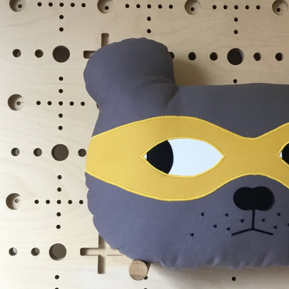 Grey Bear with Mustard Yellow Mask