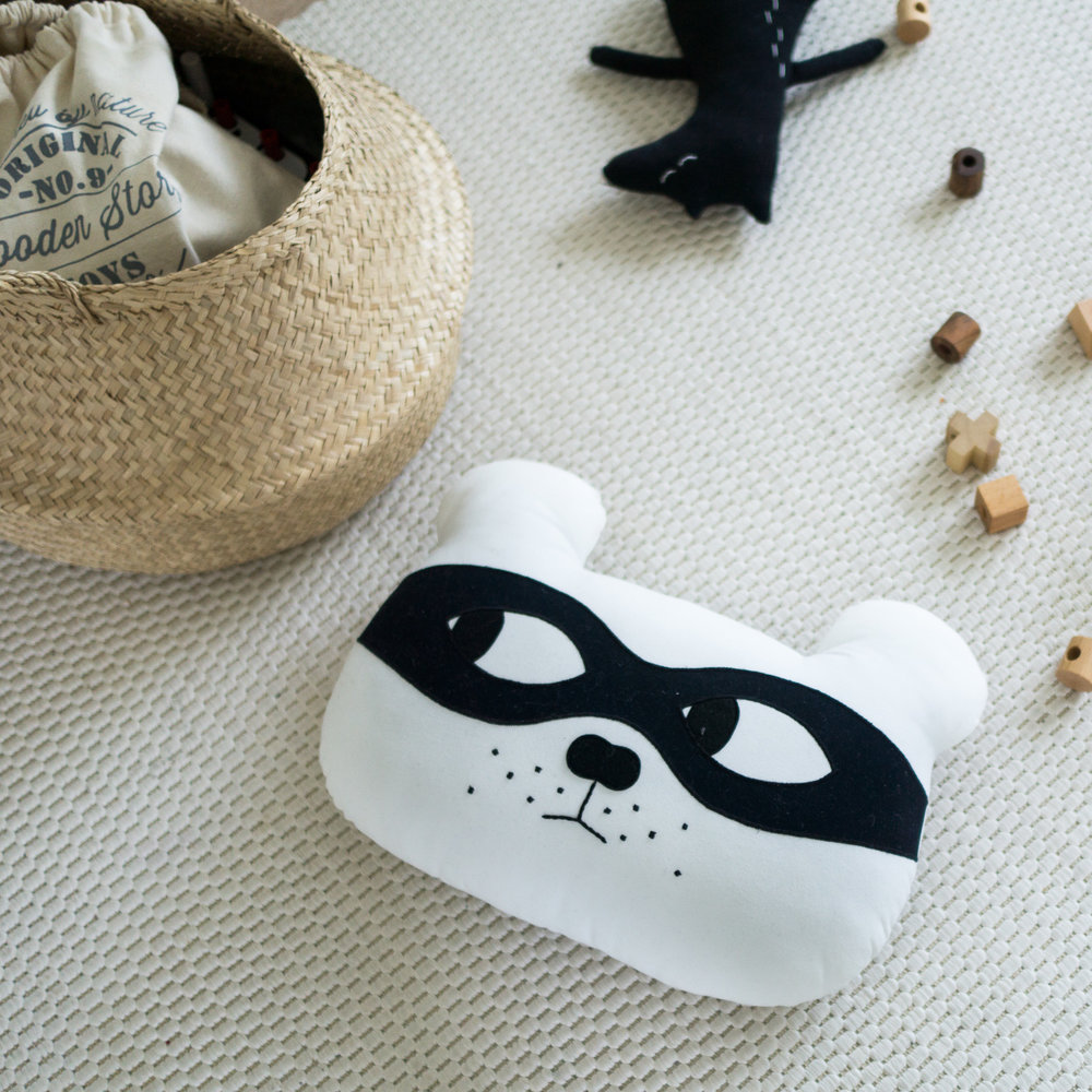 White with Black Mask - Bear Cushion