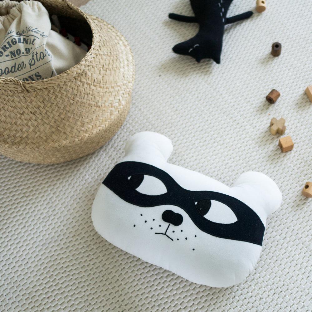 White with Black Mask - Bear Cushion