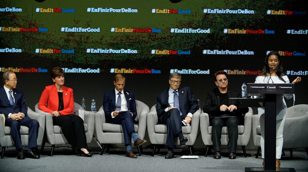 Pictured: (L-R) UN Secretary General Ban Ki-Moon, Canadian Minister of International Development H.E Marie-Claude Bibeau, Mark Dybl, Bill Gates, Bono and Hannah