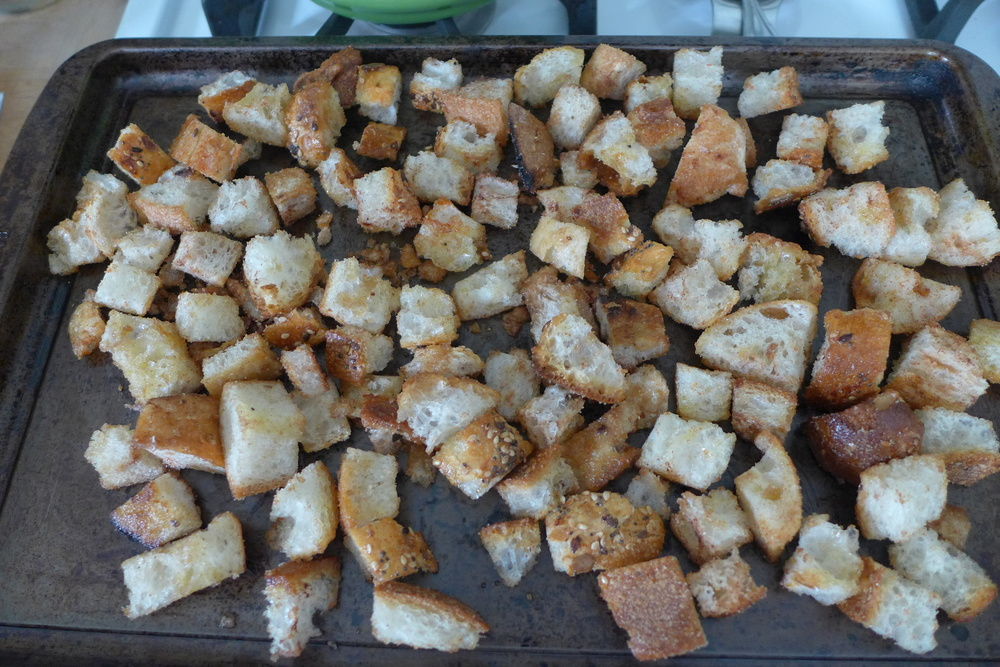 bread cubes before baked