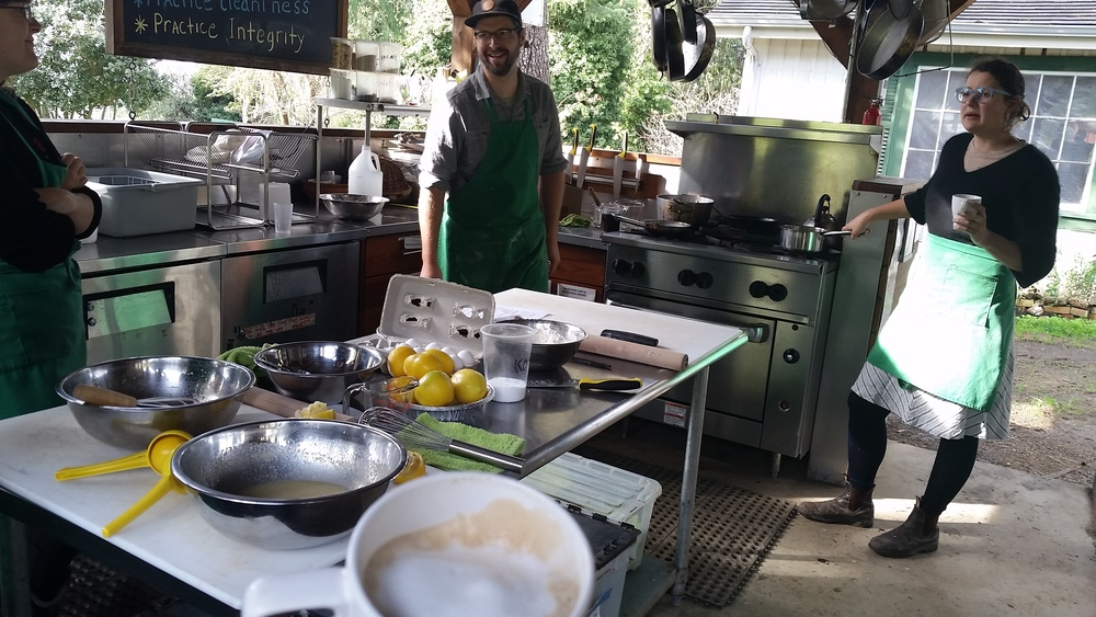 The Pie Ranch team enjoys fresh goat milk latte's made by Chef David on the stove.
