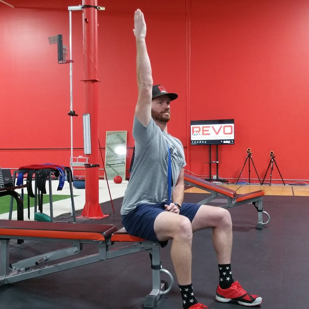While sitting tall, add range of motion with the shoulder and search for tender zones .