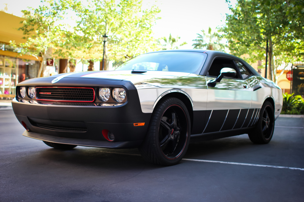 Dodge Challenger Chrome With Matte Black Incognito Wraps