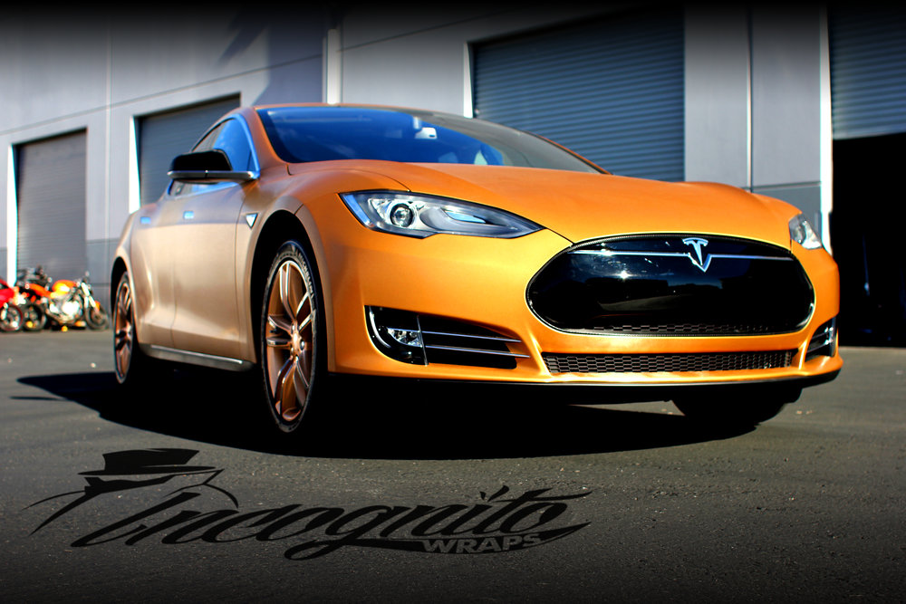 Tesla Model S - Complete Wrap in Brushed Bronze, with Rim Wraps.
