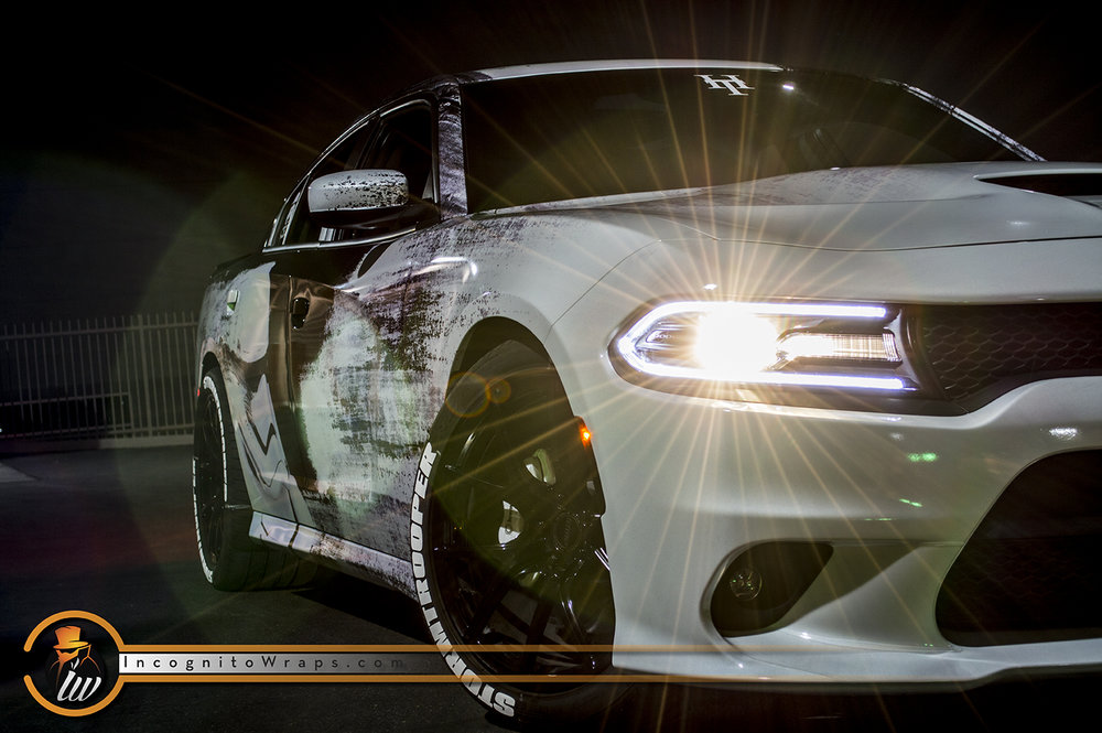 dodge charger reflective stormtrooper incognito wraps