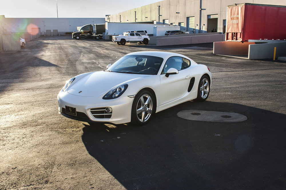 Porsche Cayman Satin Pearl White