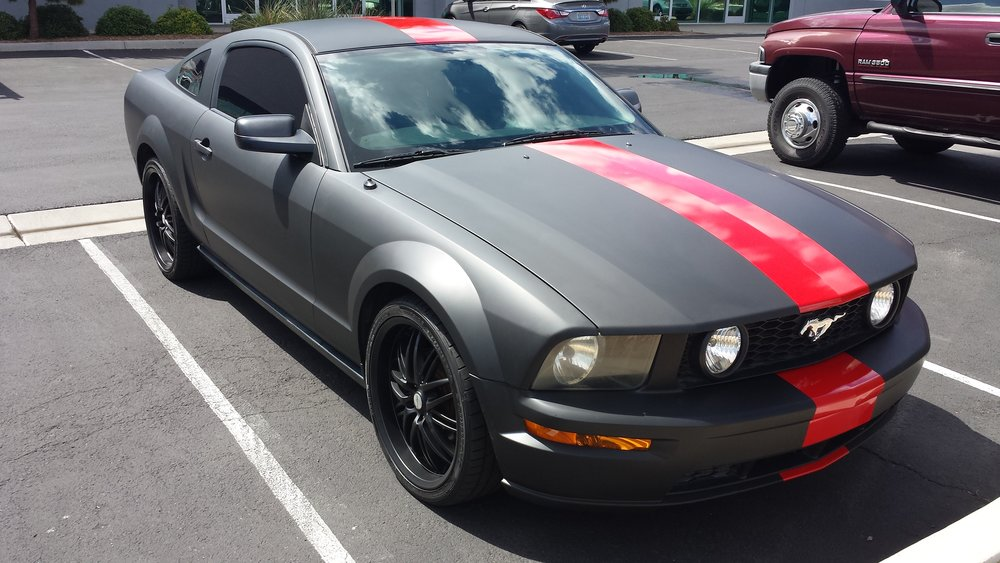 Ford Mustang Matte Black with Red Stripe