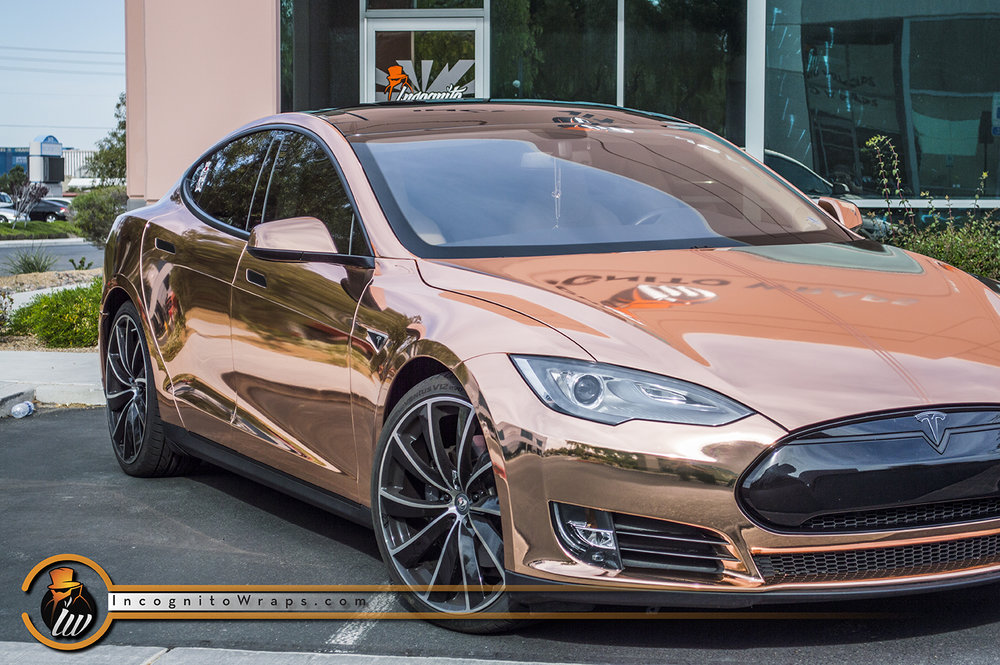Tesla Model S Rose Gold Chrome Wrap