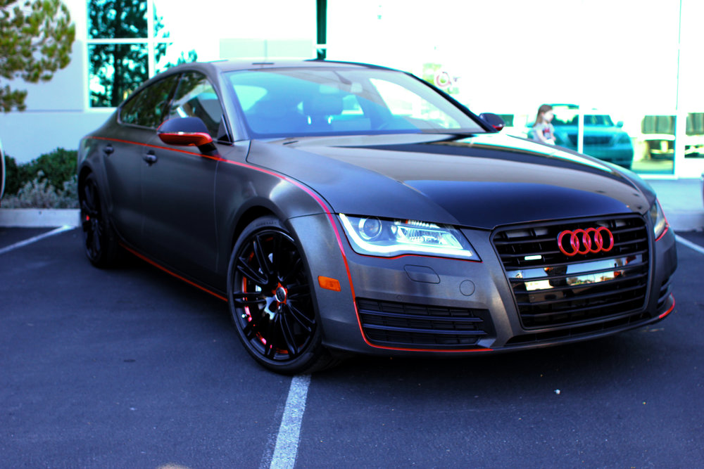 Audi A7 Brushed Black and Red Chrome Wrap