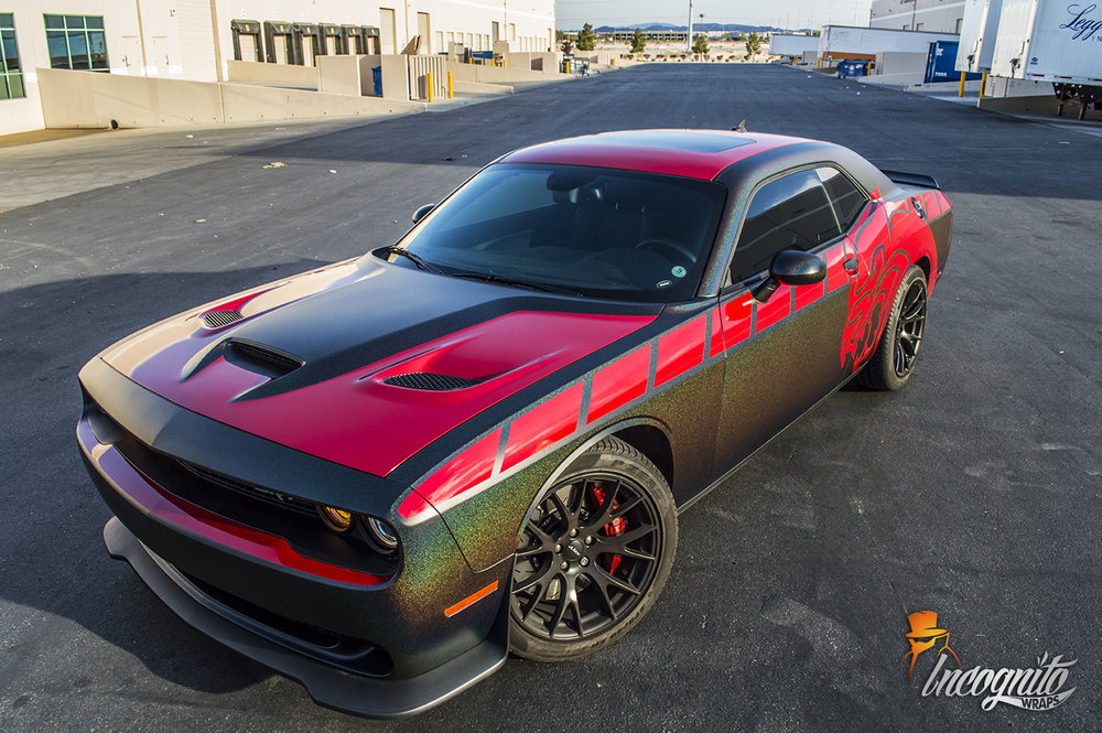 Dodge Challenger Hellcat Matte Morpheus and Vengeance Red Wrap