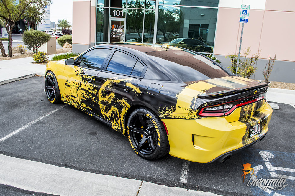 Dodge Charger Hellcat Yellow and Black Reflective Design Wrap