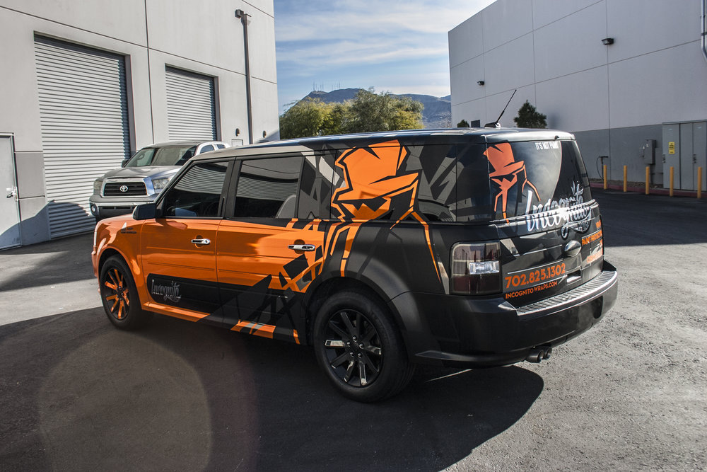 Ford Flex Orange Chrome Incognito Wraps