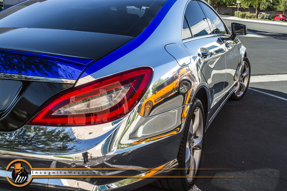 Mercedes CLS 550 Chrome Gloss Black and Blue Chrome