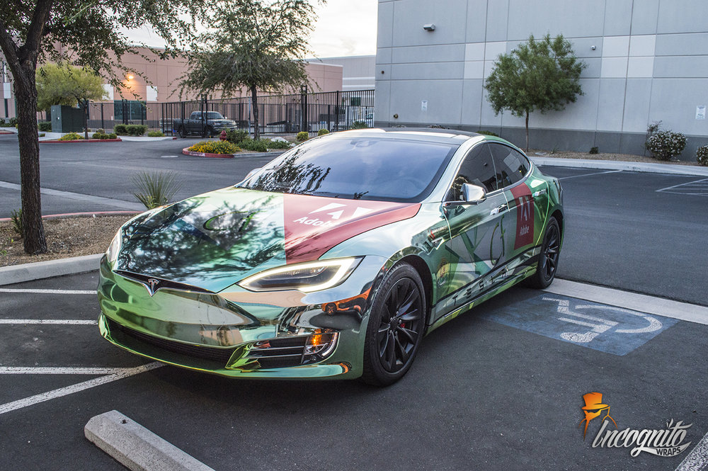 Tesla Model S Cold Fusion Design Chrome Printed Wrap