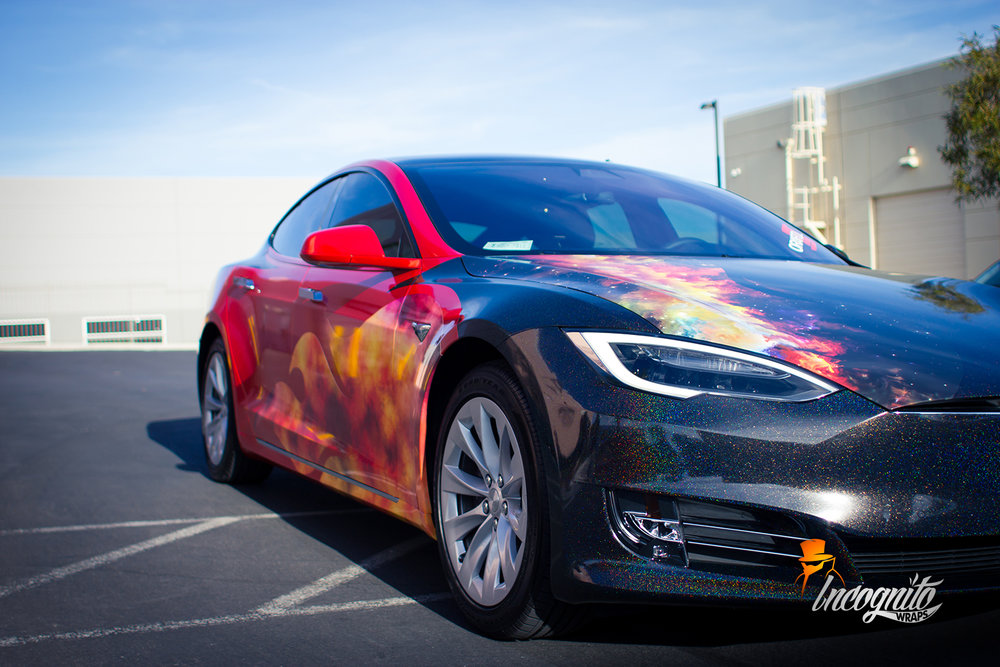 Tesla Model S Galactic Gold and Sunset Shift Wrap