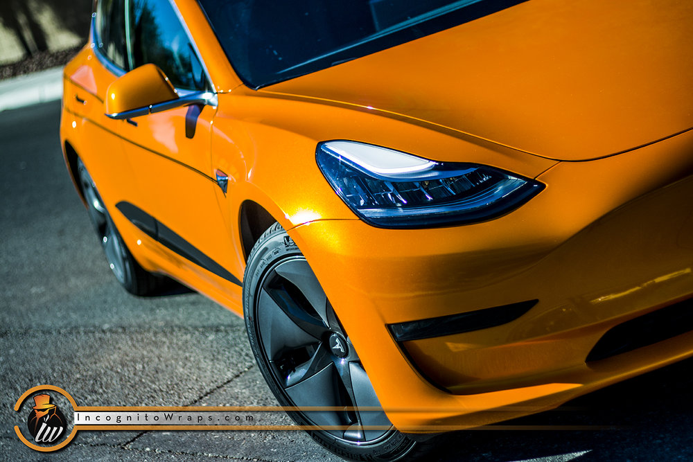 Tesla Model 3 Ocherous Orange