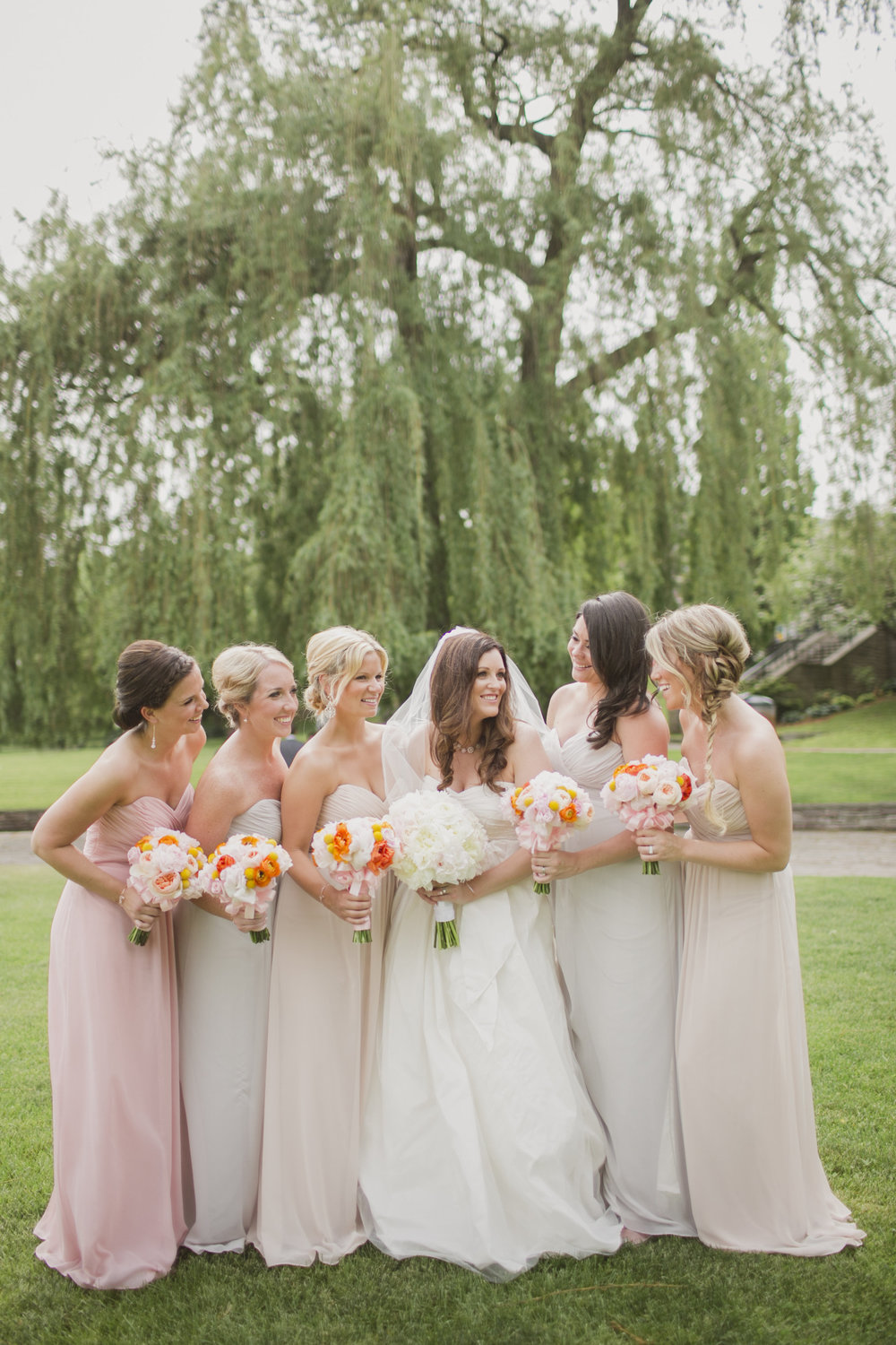mismatched bridesmaids kj and co burlington golf and country club wedding photos oakville wedding planner, spencer smith park burlington