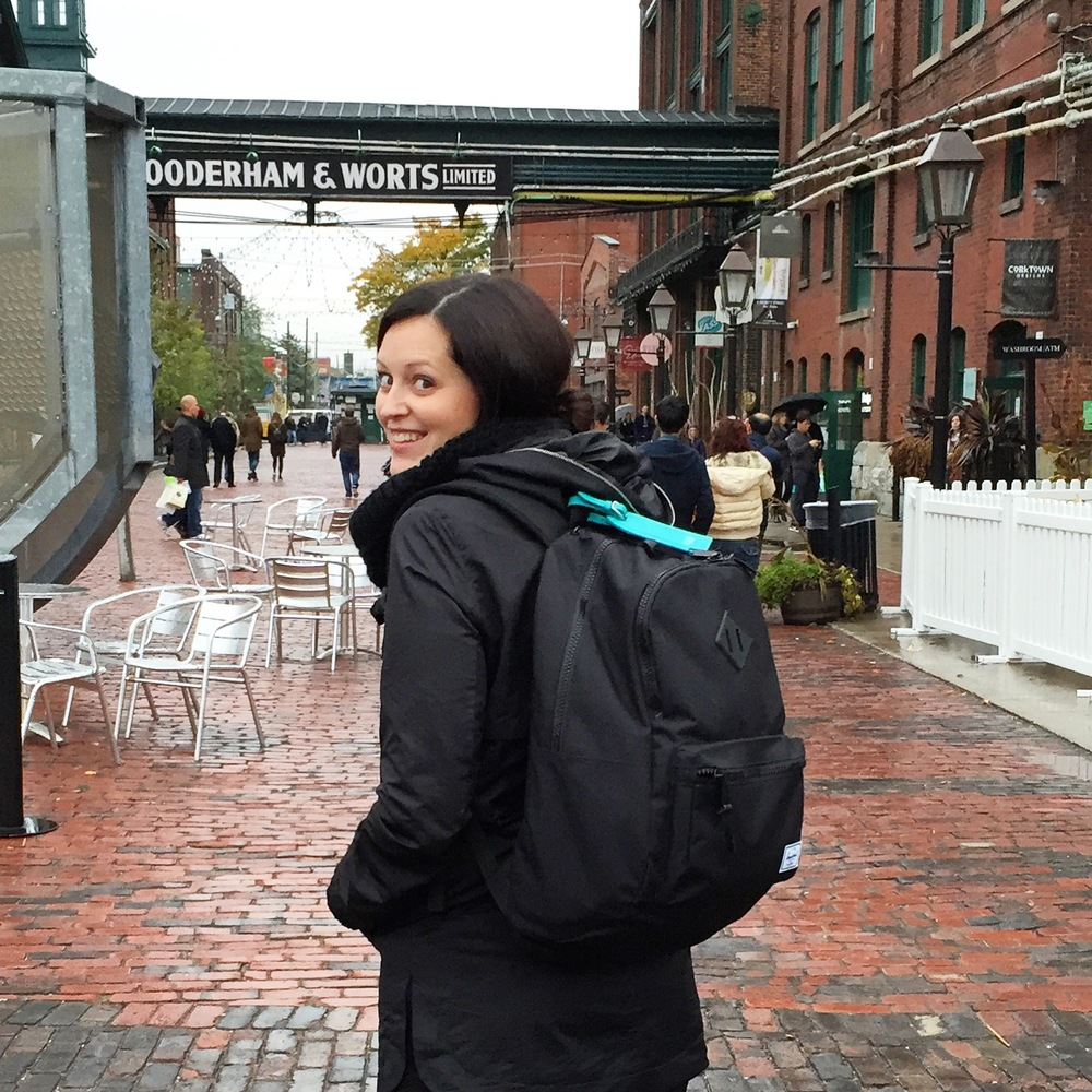 Sporting my emergency bag in Toronto's Distillery District for a rainy October wedding.