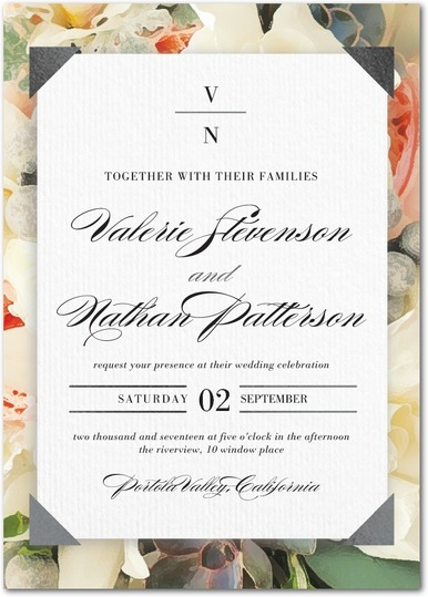Enchanting Floral Wedding Invitations - shown in maple