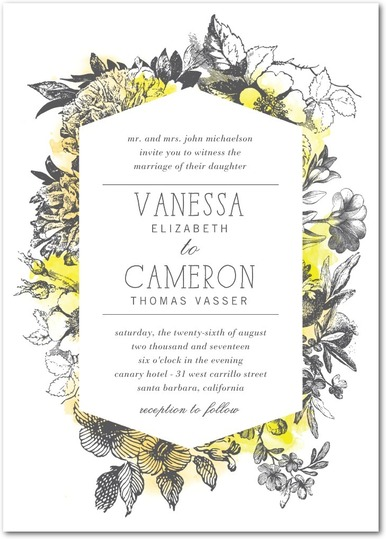Romantic Wreath Wedding Invitations - shown in bisque