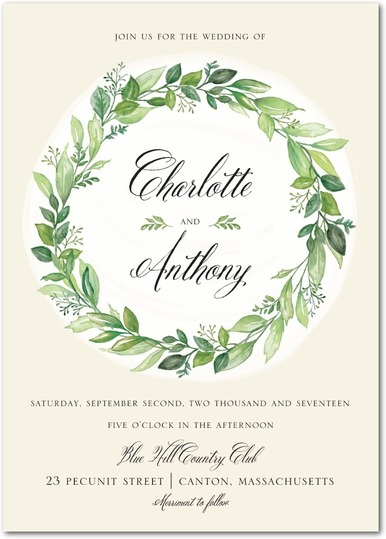 Captivating Wreath Wedding Invitations - shown in pistachio