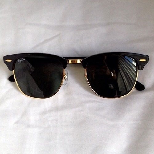 2.) RAY BAN - Clubmasters in black.   A go to for all face shapes. (Wearing below)
