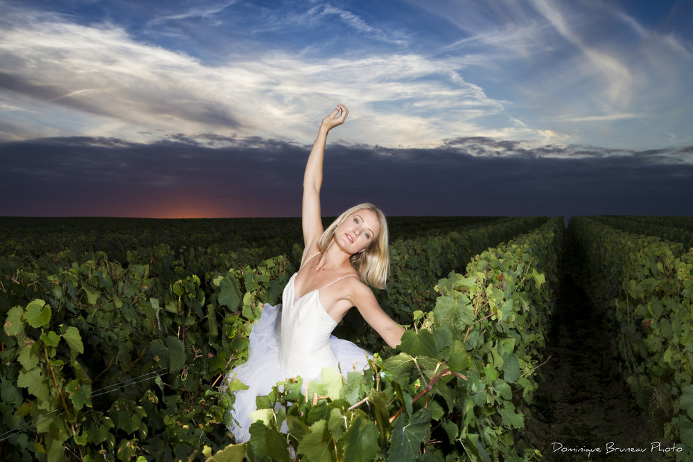 Aurore CASANOVA by Dominique Bruneau - One evening of spring 2017, having fun dancing in our family vineyard of Puisieulx with my friend photographer Dominique Bruneau.