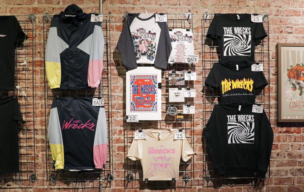 Sample merchandise display for the Panic Vertigo Tour 2018.