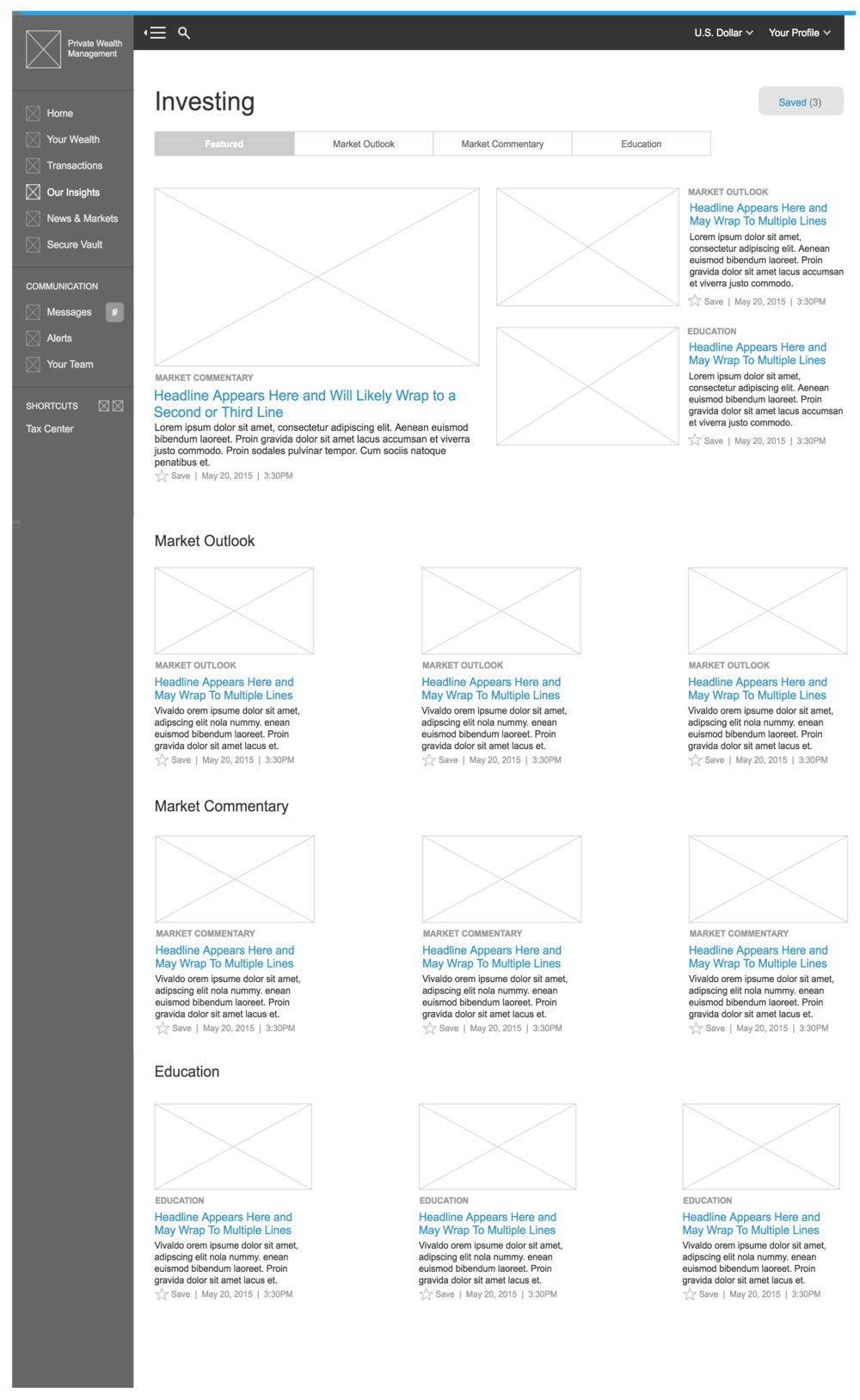 Insights Category Landing Page Wireframe