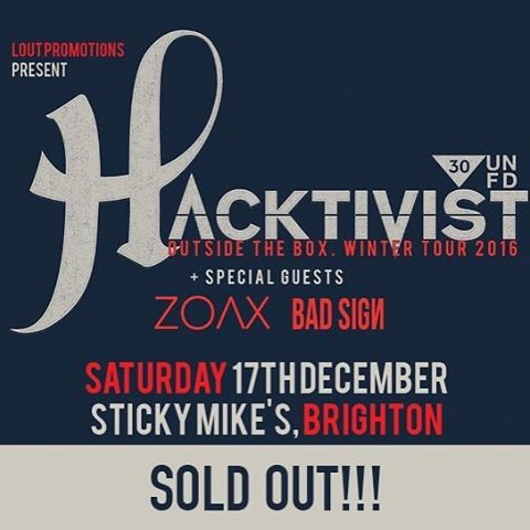 ‪Brighton! ‬ ‪Final show of tour tonight with @HacktivistUK & @BadSignBand. ‬