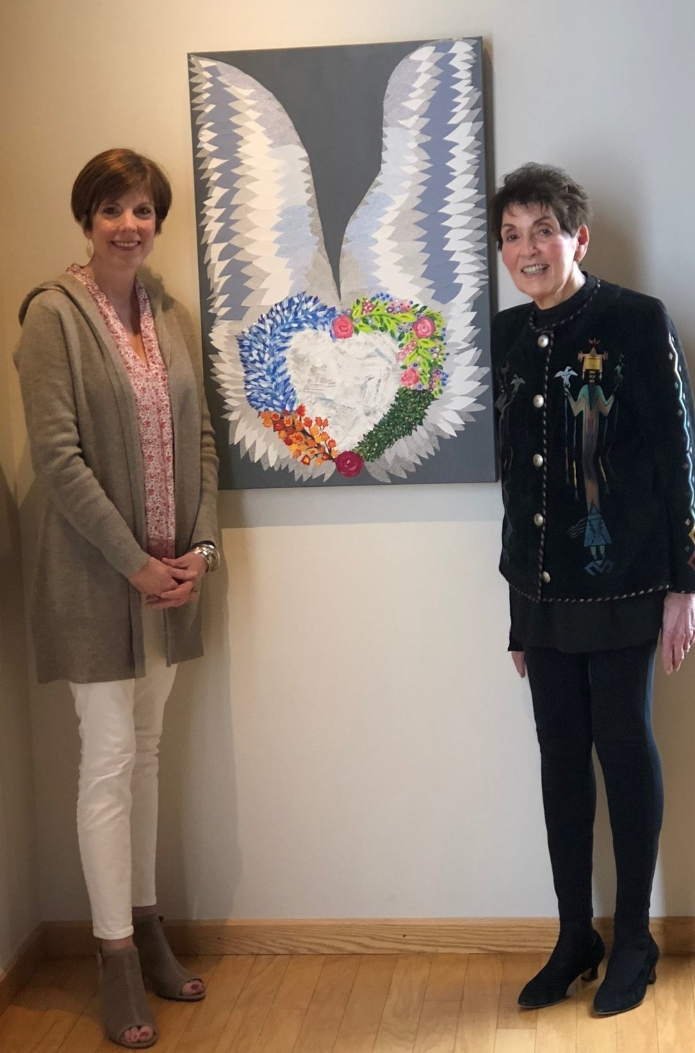 "Rosalie Unger and I showcase our collaboration, ""Guardian Angels"", acrylic and paper collage with security envelopes and both of our prescription inserts!"