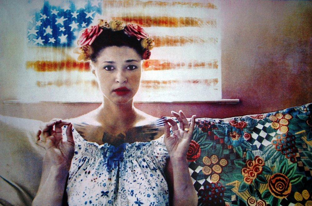 "Self portrait with bird. 22x30"" Gum Print"