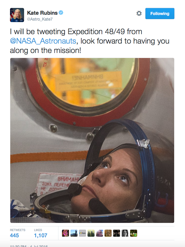 To keep-up with Astronaut Kate Rubins on her Expedition 48 mission, follow @NASA_Astronauts where she'll be tweeting