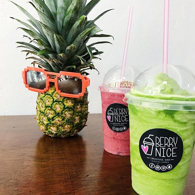 Green superfood smoothies on vaycay. This place just opened two weeks ago! 🍍 #smoothieporn #vacationdiet #tropicaldiet #pinapplehead #celery #mint #spinach #moringa #pinapple #lemon #playadelcarmen  #playadelcarmenvegan #playadelcarmenjuice #playadelcarmenhealthy