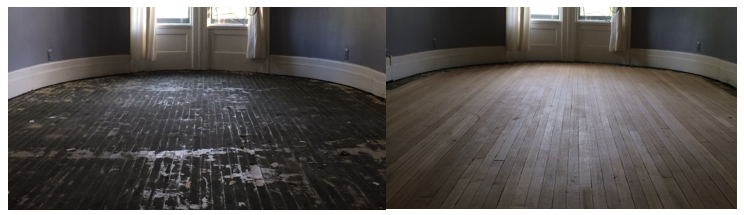 Before and after hardwood floor refinish