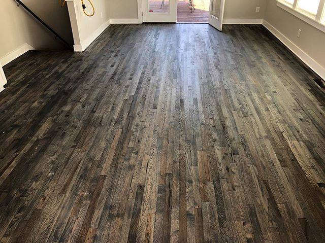 This floor is on 🔥🔥🔥 one of my favorites ever. This is Bona Driftwood stain on Hickory floors. Can't wait to get poly down