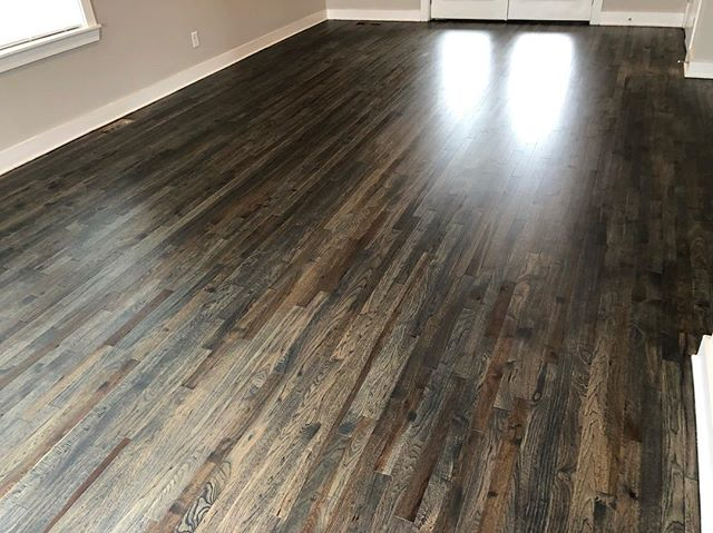 Gorgeous! Love how these floors turned out! Gorgeous Bona Drifrwood stain on hickory hardwoods, finished with Bona's new Bona One ultra matte. This was the first time using that new polyurethane and it has now become my go to. Really loved how it flowed and the final results. @bona_pro