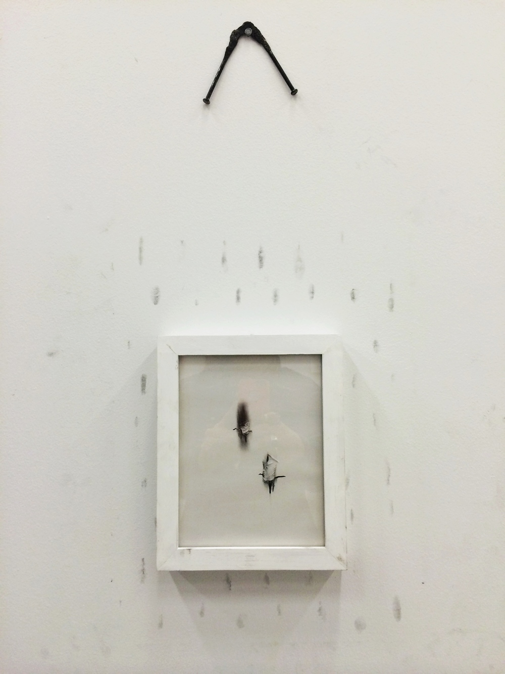 Graphite on paper and wall, steel, artist's frame.  2014.