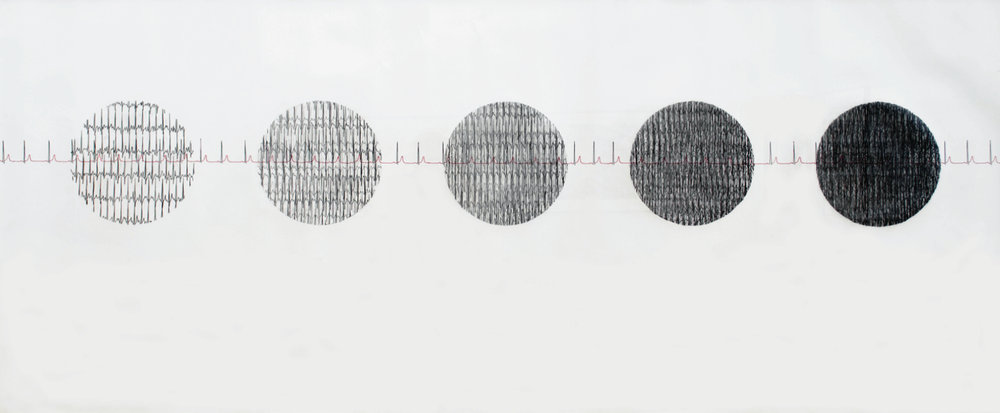 &.  Graphite and ink on paper. 96 x 28 inches. 2012.