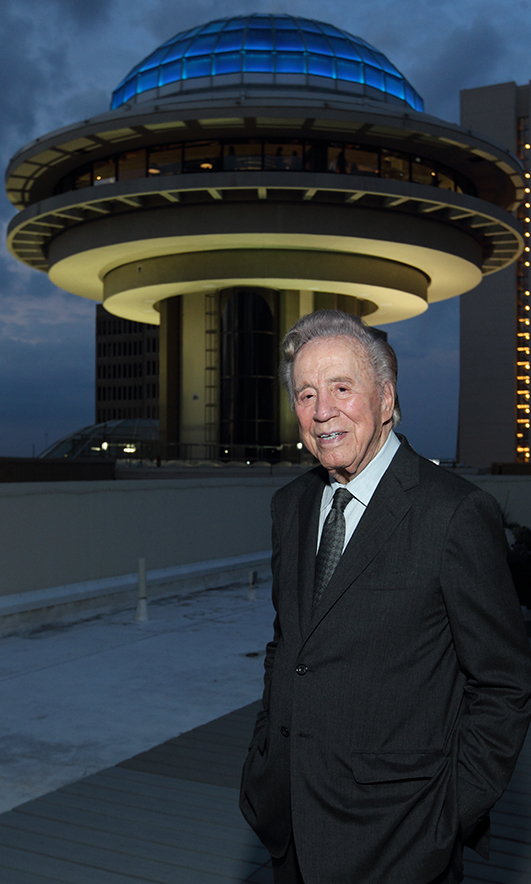 John Portman at relighting ceremony for the blue dome of Polaris atop the Hyatt Regency Atlanta, 2014. Photo © BenRosePhotography.com
