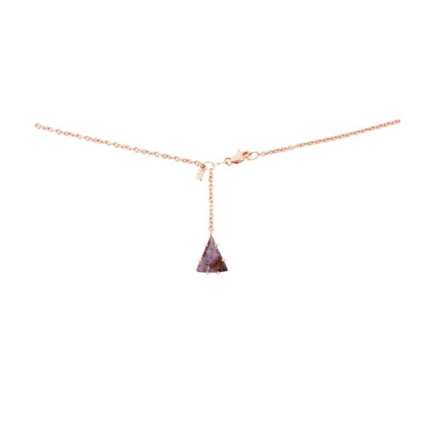 Cherise Thomson | Stacked Arrow Vintage Rose Gold Boulder Opal Necklace | #15007 | Back of neck