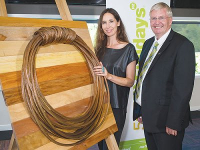 Cherise Thomson and Fieldays chief executive Peter Nation at the launch.