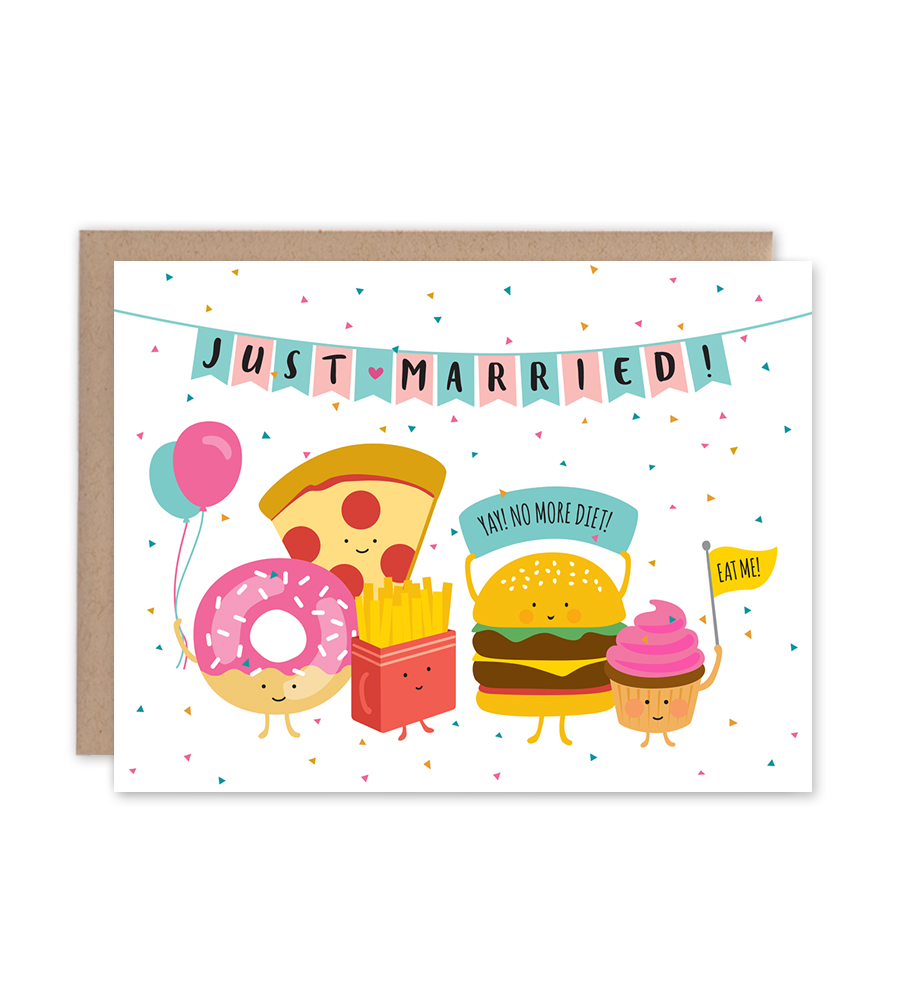 No More Wedding Diet Congratulations Wedding Card fishcake design