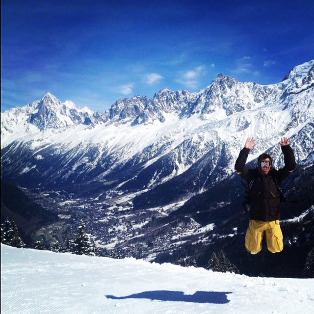 B. Evans in Chamonix, France. #jump #chamonix #travel