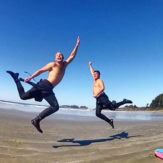 T. Murphy and K. Hunter. Tofino, BC. Canada. #jumptheworld